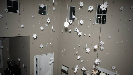 More snow suspends from the ceiling. Lighter than air.