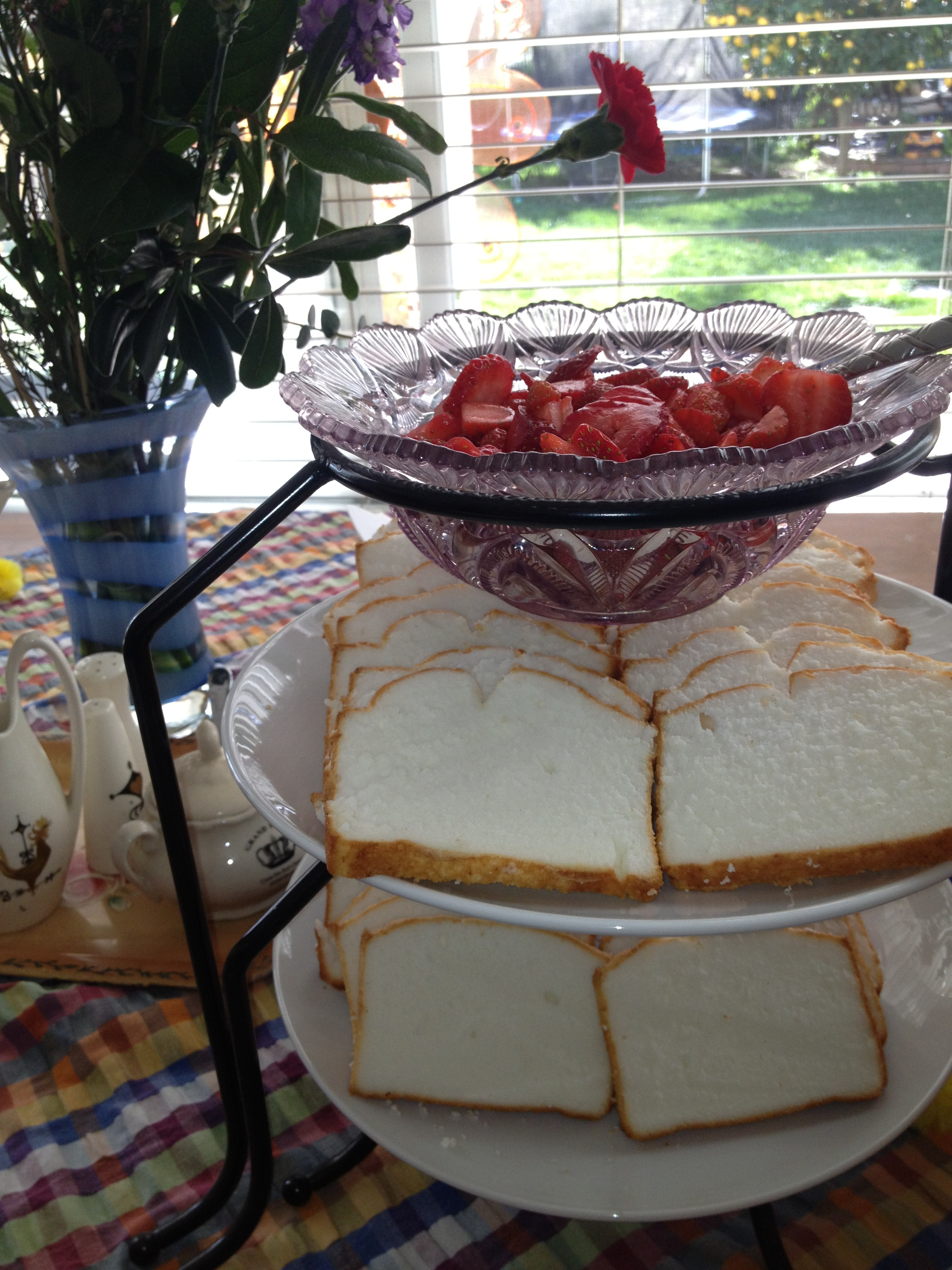 Strawberries and pound cake -- served in Grandma's glass bowls...